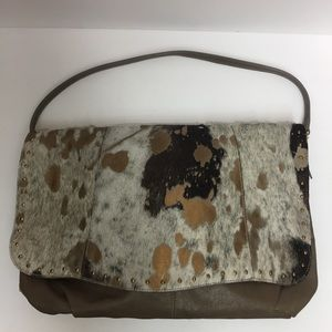 Pulicati Leather And Cow Hair Printed Purse
